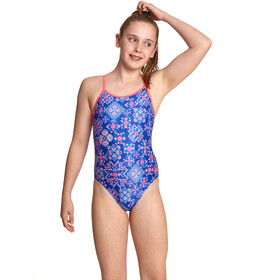 Zoggs Enchanted Yaroomba Floral Swimsuit Girls blue/multi